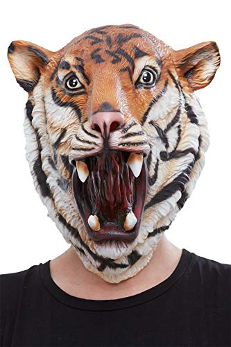 Smiffys 50884 Tijger Latex Masker, Mannen, Oranje & Zwart