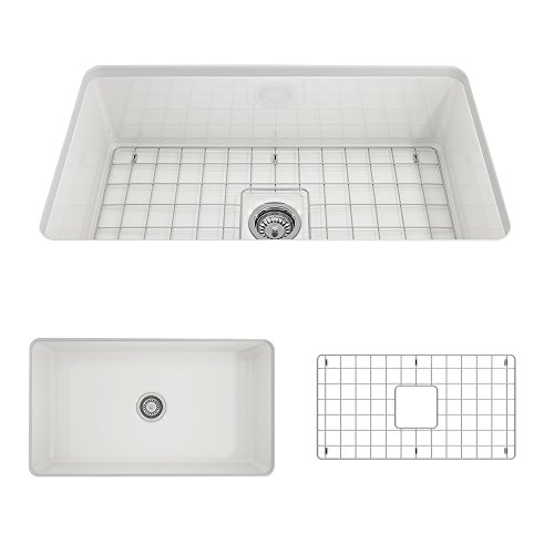 BOCCHI 1362-001-0120 Sotto Undermount Fireclay 32 in. Single Bowl Kitchen Sink with Protective...