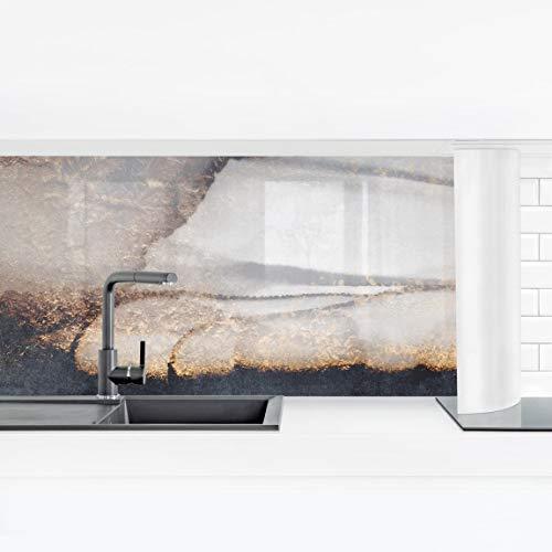 Bilderwelten Selbstklebende Küchenrückwand Folie Goldener Marmor gemalt, 60 x 210 cm Smart