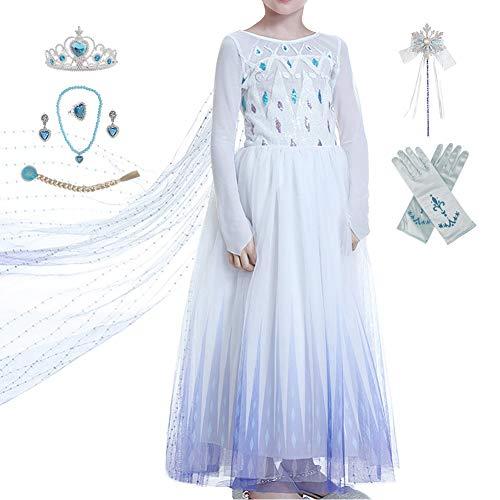 Anbelarui Prinzessin Kleid Mädchen Langes Festliches Karneval Kinder Glanz Kleider Weihnachten Verkleidung Karneval Partei Kostüm Outfit Halloween Fest (03 Kleid&zubehör,100