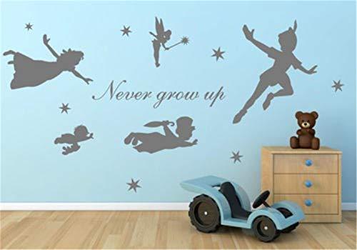 pegatina de pared pegatina de pared frases Figura de caricatura Peter Pan nunca crecen arte Mural Kids Home Decoration For Living Room