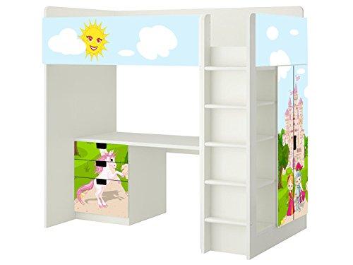 Märchenwelt Aufkleber - SH04 - passend für die Kinderzimmer Hochbett-Kombination STUVA von IKEA - Bestehend aus Hochbett, Kommode (3 Fächer), Kleiderschrank und Schreibtisch - Möbel Nicht Inklusive | STIKKIPIX