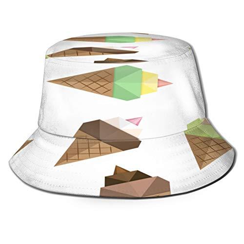 PUIO Sombrero de Pesca,Conjunto de Patrones sin Fisuras de Origami de Helado,Senderismo para Hombres y Mujeres al Aire Libre Sombrero de Cubo Sombrero para el Sol