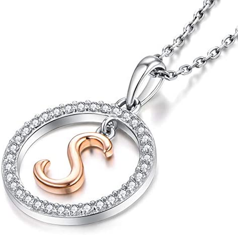 Starchenie Letter Initial Necklaces for Women 925 Sterling Silver Cubic Zirconia Hanging A-Z Alphabet Pendant Jewelry