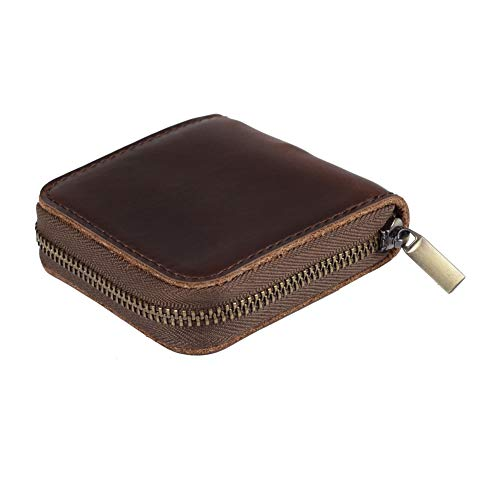 fuinloth Leather Condom Case Holder, Small Zipper Bag Brown