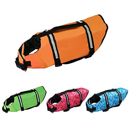 Cielo Meraviglioso Dog Life Jacket, Dog Swimsuit Safety Flotation Vests Pet Life Preserver Savers with Lift Handle Reflective Stripes for Small Medium Large Dogs Swimming Boating (Orange, Large)