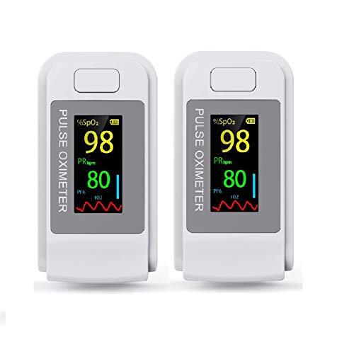 Anself 2 Pezzi Mini Misuratore della Frequenza Cardiaca Digitale, per Viaggi Sportivi a Casa, Bianco