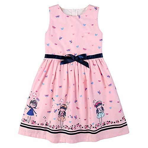 BOBORA Vestidos de Niña Verano Vestido de Algodón sin Mangas Falda para Niña 1-6 Años