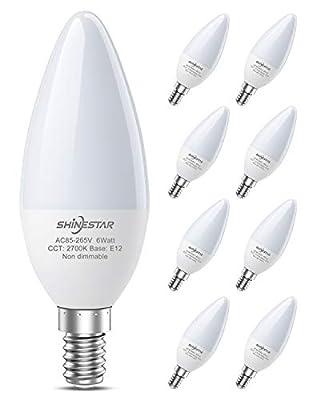 8-Pack E12 LED Bulbs, Ceiling Fan Light Bulbs 60W Equivalent, 2700K Warm White Candelabra LED Bulb Chandelier Bulb, Type B Small Base, Non-dimmable