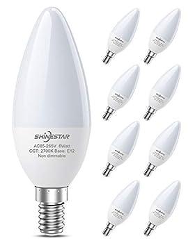 SHINESTAR 8-Pack Warm White LED Ceiling Fan Light Bulbs 60 Watt Equivalent 2700K E12 Candelabra Base Chandelier Light Bulb Non-dimmable