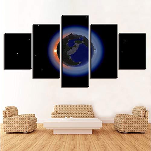 zlxzlx 5 opeenvolgende schilderijen Canvas Hd Prints Poster Voor Woonkamer Decor Framework 5 Stukken Aarde Schilderijen Modulair Spel Minecraft Foto's Home Wall Art 30x40cmx2 30x60cmx2 30x80cmx1