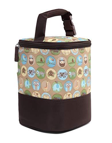 LCY - Bolsa térmica para bebés con correa para colgar (4 botellas) Animals Print