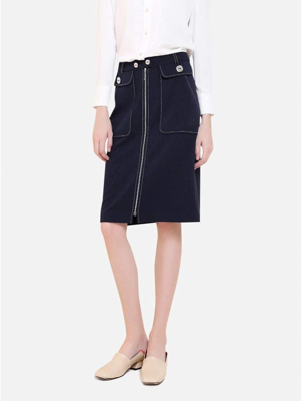 FSDFASS Skirt Women Knee Length Zipper Front Skirt Fashion Patchwork Pocket A Line Skirt Office Lady Pencil Skirt