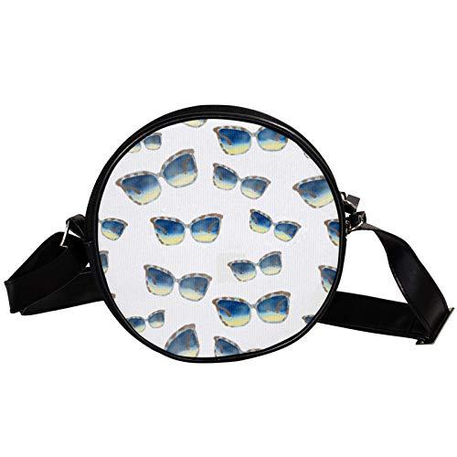 Bolso cruzado redondo pequeño bolso de las señoras bolsos de hombro de la moda bolso de mensajero bolsa de lona bolsa de cintura accesorios para las mujeres - gafas de sol