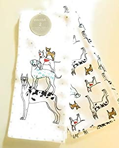 Kitchen towel set featuring great dane, dalmatian, bull terrier and chihuahua