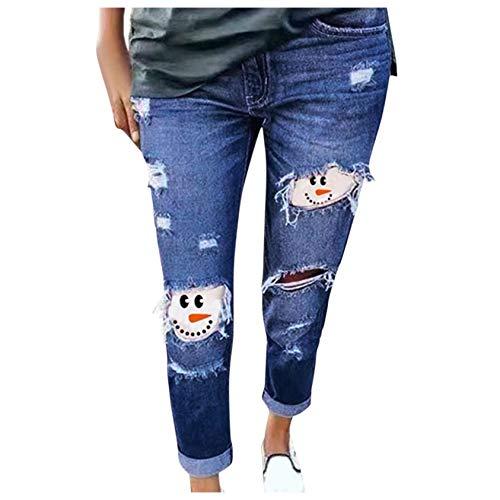 YAnGSale Women Jeans Snowman Ripped Jeans Fashion Teens Pants Christmas New Year Leggings Plus Size Trousers (Blue, XL)