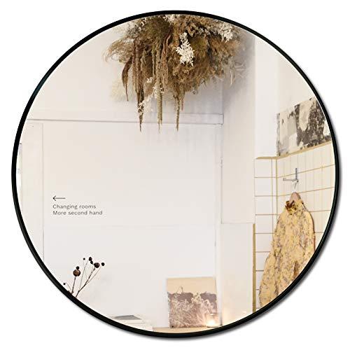 SDKOA Espejo redondo de pared de 76,2 cm con marco de aleación de aluminio negro moderno, gran espejo circular montado en la pared...