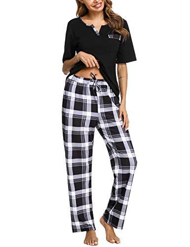 Doaraha Pijama a Cuadros para Mujer Camiseta y Pantalones Pijamas Manga Larga Celosía Ropa de Dormir de Algodón Manga Corta con Bolsillo Cuello de Muesca 2 Piezas (A#1 Negro (pantalón Largo), S)