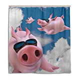 CPYang Duschvorhang, lustiges Tier, fliegendes Schwein, wasserdicht, schimmelresistent, 168 x 182 cm, mit 12 Haken