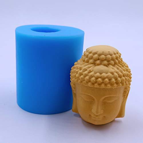 Mini Buddha Head Candle Mold Wax Mould Buddha Silicone Molds for Making Candle Soap Wax Resin Epoxy Aroma Gypsum Decorating Crafts (IB-Buddha10)