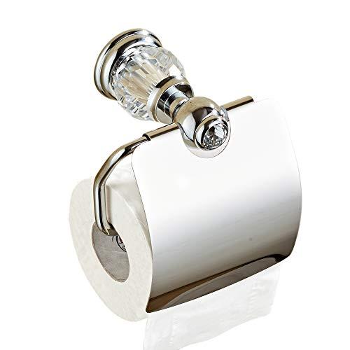 CASEWIND Toilettenpapierhalter Chrom, Klorollenhalter Messing, Klopapierhalter mit Deckel Kristall Wandmontage Glänzend Modern Badaccessoires