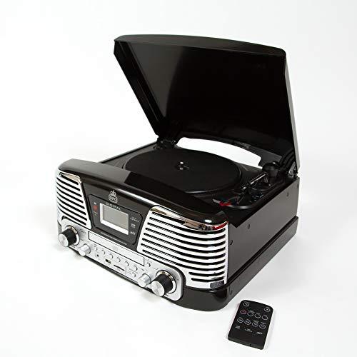 GPO Memphis 4-in-1-Musikwiedergabegerät in Plattentellerform mit CD-Wiedergabe und FM-Radio Schwarz