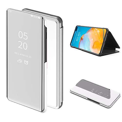Cestor Mirror Etui à Rabat pour Huawei P40 Pro,Metal Placage électrolytique Plaque Smart Clear Vue intelligente Kickstand Coque Housse de Protection Cover,Argent