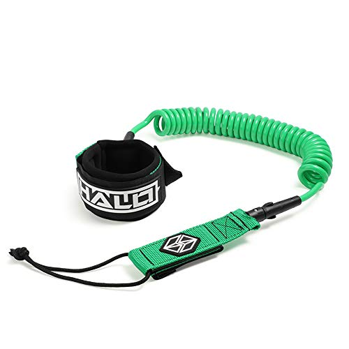 Halo Waterman 10ft Ankle Foot Sup Coil Leash Stand Up Paddle Board Surfboard Leash Stay on Board Ankle Strap with Waterproof Wallet/Phone Case Green