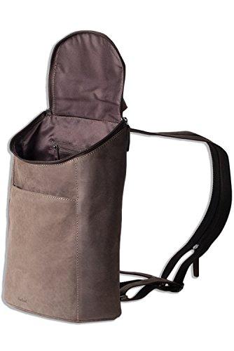 Woodland® Rucksack aus weichem, naturbelassenem Büffelleder in Dunkelbraun/Taupe