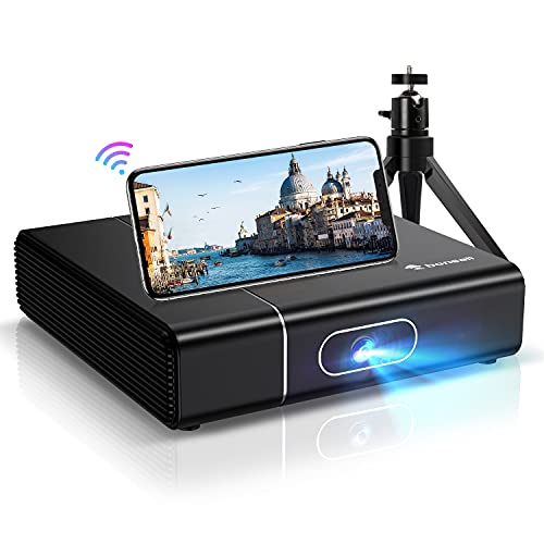 WiFi Bluetooth Beamer, Bonsaii 1080P Full HD 3D Unterstützt DLP Projektor, 350ANSI Lumens Video Heimkino Beamer,kompatibel mit TV Stick, HDMI, SD, AV, VGA, USB, X-Box, iOS/Android Smartphone Projektor