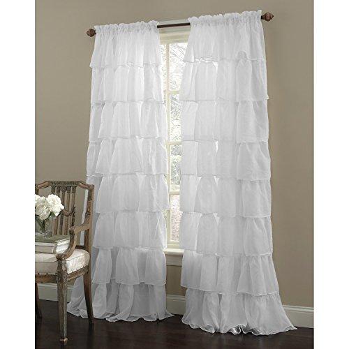 "Awad Home Fashion 1 Piece Gypsy Ruffled Window Curtain Treatment Panel Drapes (55""x63"", White)"