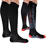 NV Compression 365 Cushion Chaussettes de Compression - Noir - for Running, Cycling, Triathlon, Gym (Noir/Rouge Rayures, Medium)