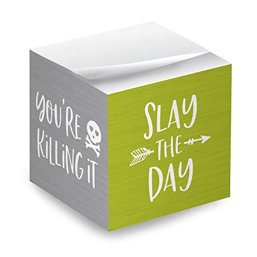 """Motivational Sticky Note Cube / 600 Sheets / 2.75"""" Memo Block Printed on 4 Sides/Bright Empowering Messages"""
