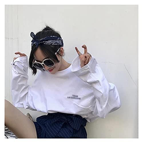 CHYSP Mujeres de otoño camisetas largas de caída de gran tamaño Hombro de manga larga camisetas femeninas Tops Tops (Color : A, Size : L code)
