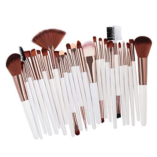freneci Juego de Pinceles Cosméticos de Maquillaje 25pcs para La Mezcla de Corrector en Polvo de Base - Café blanco