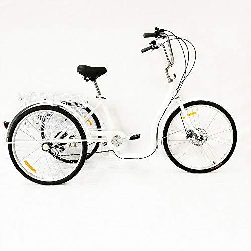 Aohuada Triciclo manual tradicional para adultos de 26 pulgadas, 6 velocidades, cesta...