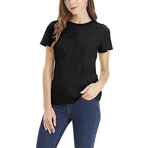 SLYZ Camiseta De Mujer De Manga Corta Informal con Cuello Redondo De Gran Tamaño S-5xl De Tamaño Europeo De Color Sólido De Verano para Mujer