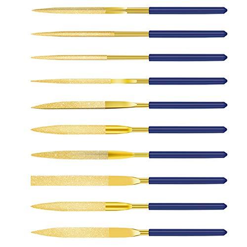 Diamant-Nadelfeilen-Set 10-tlg Mini Diamond Files 140 mm Raspeln Werkzeuge für Weichem Metall Holz Stein und Kunststoff - Blau & Gold