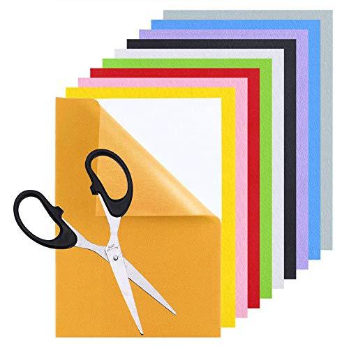 Selbstklebende Rückseite, 10 Stück, schwarz/bunt, Klebefolie mit 1 Schere, selbstklebend und vielseitig einsetzbar, langlebig und wasserabweisend, für Bastelarbeiten (21,8 x 29,9 cm)