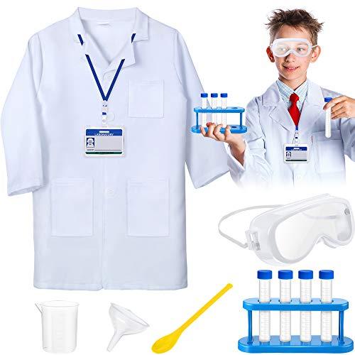 11 Piezas de Anteojos de Laboratorio Conjuntos Completos de Trajes de Científico para Niños de 5 a 10 Años, Bata de Laboratorio Unisex para Niños con Gafas Ajustables y Tarjeta de Identificación Perso