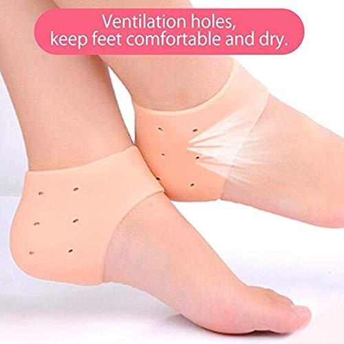 5 x Fersensporn Bandage Silikon Fersensocke,NuoYo Fersenschutz Weiches Gebrochene Ferse Verhindern für Chronischen Fersenschmerz,Atmungsaktiven (Fleisch-gefärbt)
