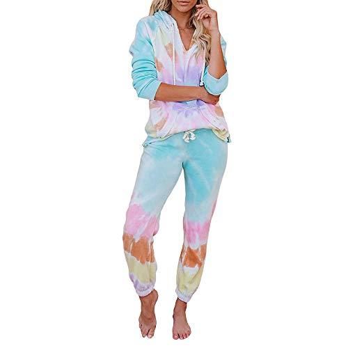 Conjunto de Pijama Tie Dye para Mujer Jersey de Manga Larga/Corta y cordón Pantalones chándal Largos Lougewear Ropa de Dormir para Primavera Verano