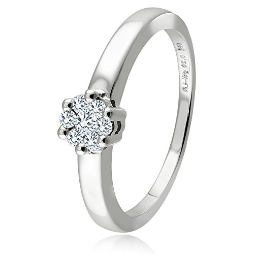 Diamond Line Diamant-Ring Damen 585 Weißgold mit 7 Brillianten 0.20 ct. Lupenrein