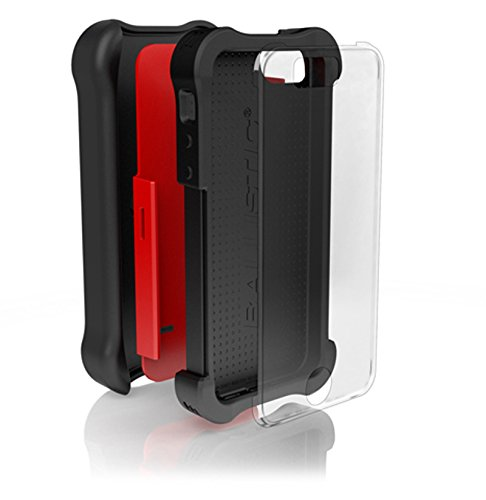 Ballistic iPhone SE (2016) Tough Jacket MAXX Case with Holster Belt Clip and Screen Protector Also fits Apple iPhone 5s, and iPhone 5 - Red, Black