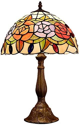 nakw88 Lámpara Escritorio Lámpara de Mesa Retro Creativo peonía vidrieras Sala de Estar Estudio Dormitorio mesita de Noche Hotel lámpara de Mesa LED