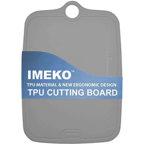 IMEKO TPU Cutting Board, Bpa Free,Knife Friendly,Flexible,Dishwasher Friendly, Space Saving,Ergonomic Design, Chopping Mat (Gray-Size MEDIUM 13.7' x 9.4'- W: 10 oz.)