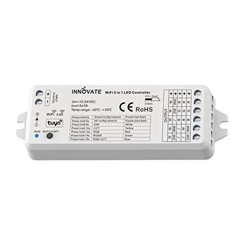 INNVOATE LED WIFI + Funk TUYA Controller 5in1 SC/CCT/RGB/RGB-WW/RGB-CCT 12-24V für Dimmen, WLan + 2.4G (5in1 Controller) - Für Smart-Home geeignet