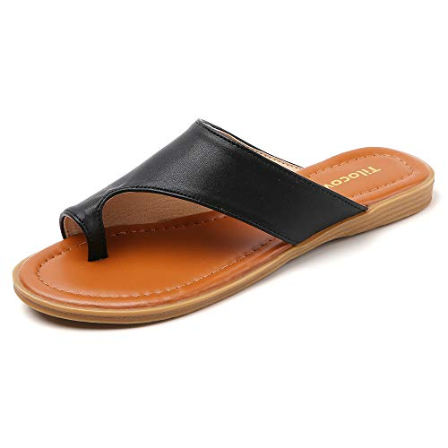 Tilocow Bunion Sandals for Women Black Comfort Bunion Corrector Flat Shoes Orthopedic Toe Ring Slides Flip Flops