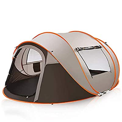 Lovinouse 2020 Upgraded 5-8 Person Pop up Camping Tent, Waterproof Double Layer Lightweight Dome Tents, with Doors Windows for Hiking Beach (Brown)