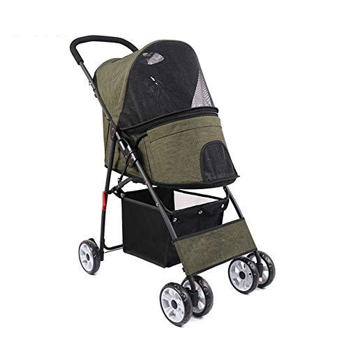 Kinderwagen voor honden, trolley voor aanhanger, fiets, kinderwagen, opvouwbaar, auto, buggy, kat, buiten, gering gewicht, met 4 wielen voor op reis, Le vert foncé